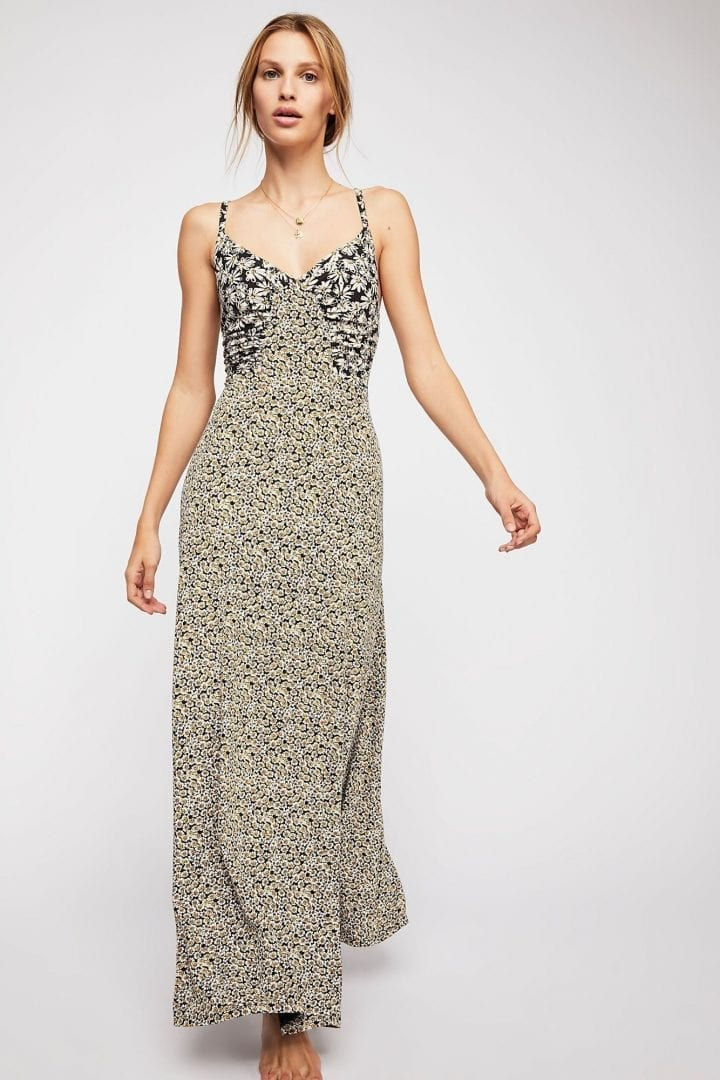 cd1b5ead03 FREEPEOPLE Song of Summer Maxi Onyx Combo Dress - We Select Dresses