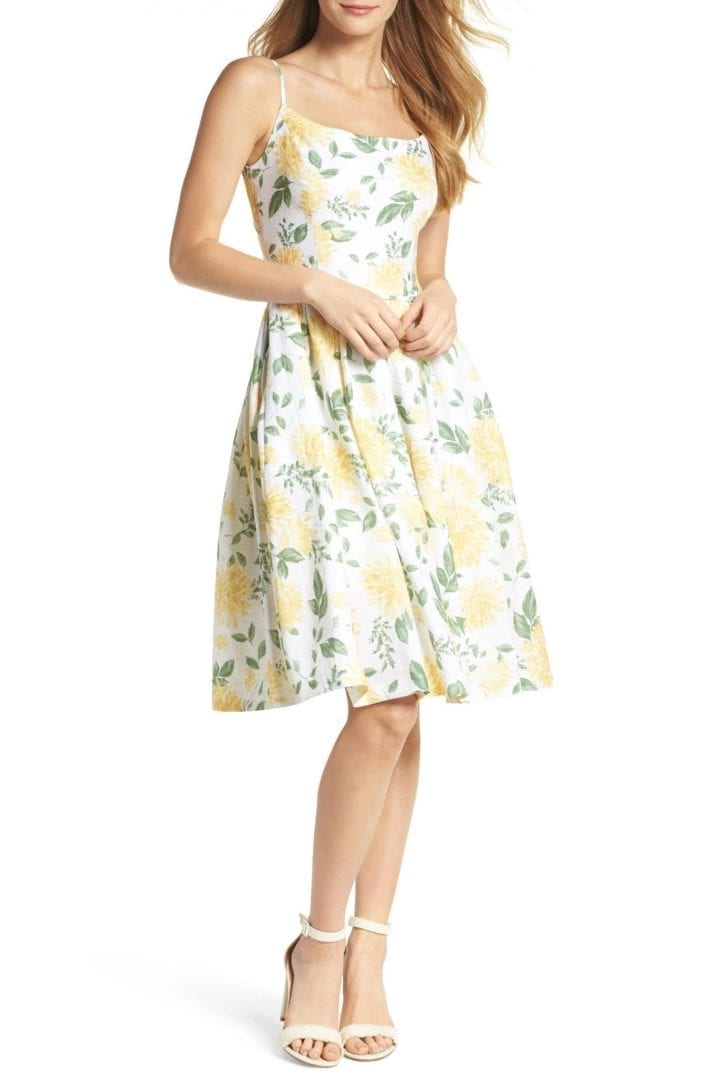407875debbe GAL MEETS GLAM COLLECTION Abigail Painted Aster Fit   Flare Ecru Maize  Sundress