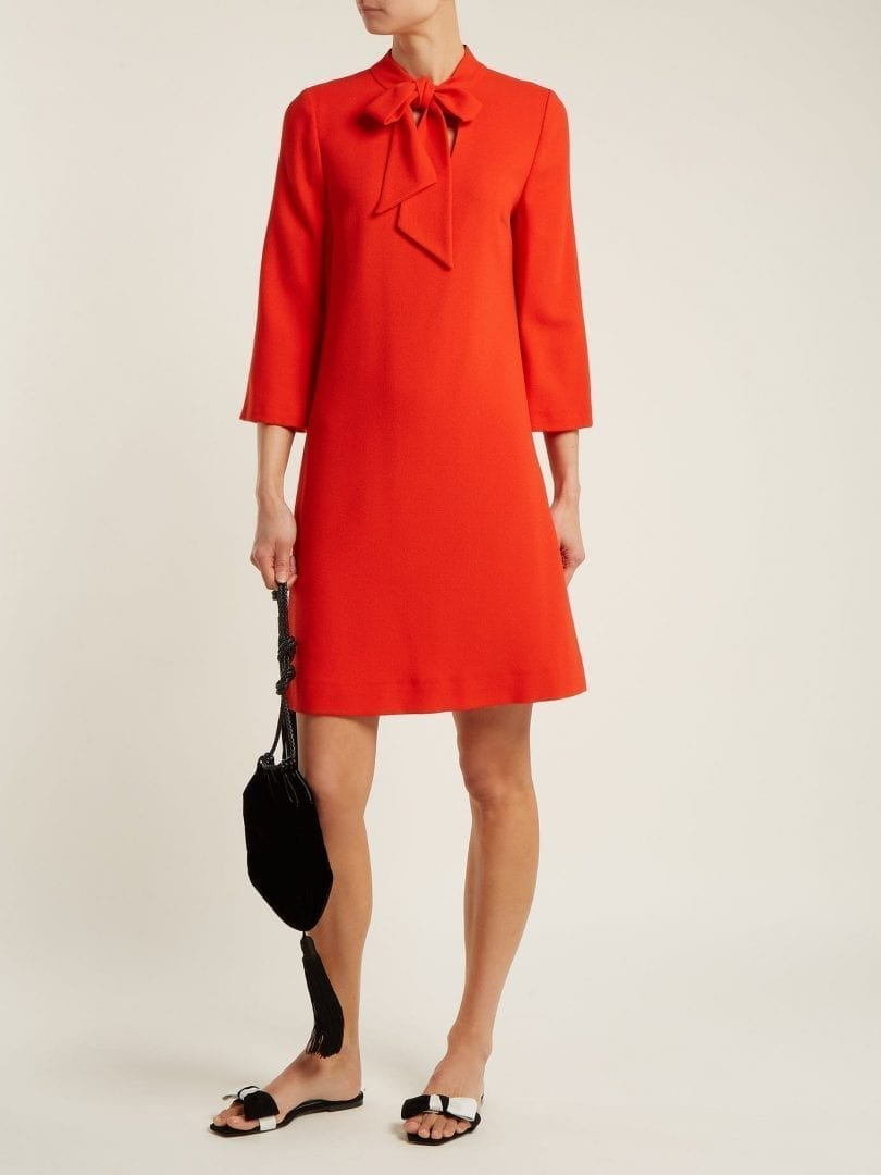 GOAT Ginny Neck Tie Wool Crepe Red Dress