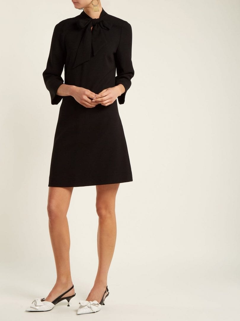 GOAT Ginny Tie Neck Wool Crepe Black Dress