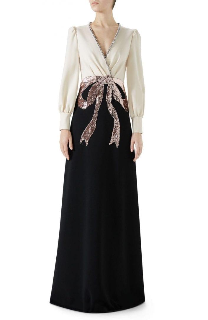 Gucci Trompe L Oeil Bow Stretch Jersey Black Almond Flower Gown