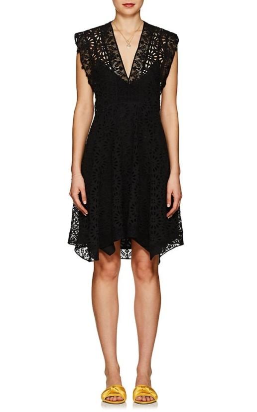 ISABEL MARANT Kierra Eyelet A-Line Black Dress