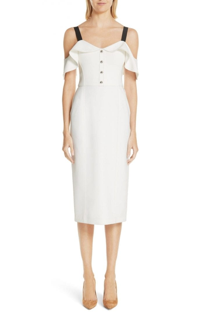 JASON WU Cold Shoulder Crepe Sheath Chalk Dress