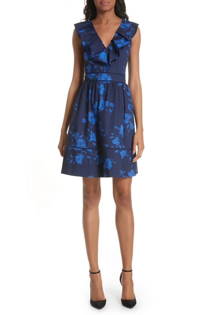 KATE SPADE NEW YORK Hibiscus Ruffle Neck Cotton Poplin Navy Dress
