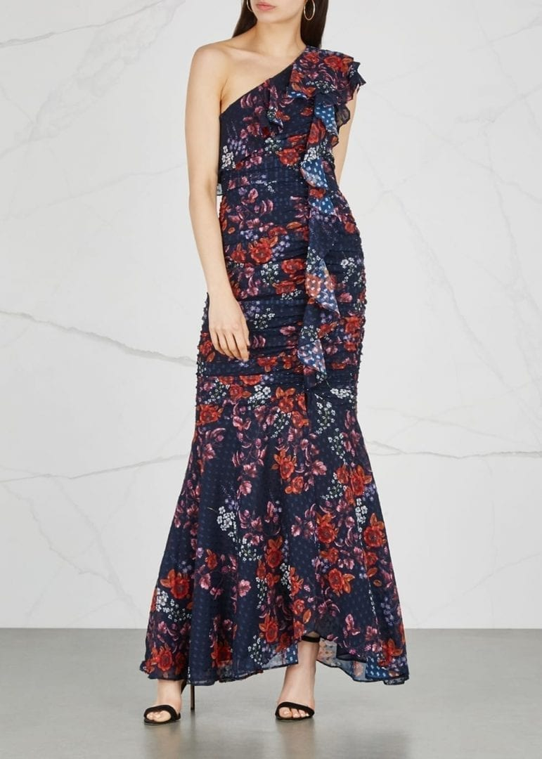 KEEPSAKE Need You Now Chiffon Navy / Floral Printed Gown