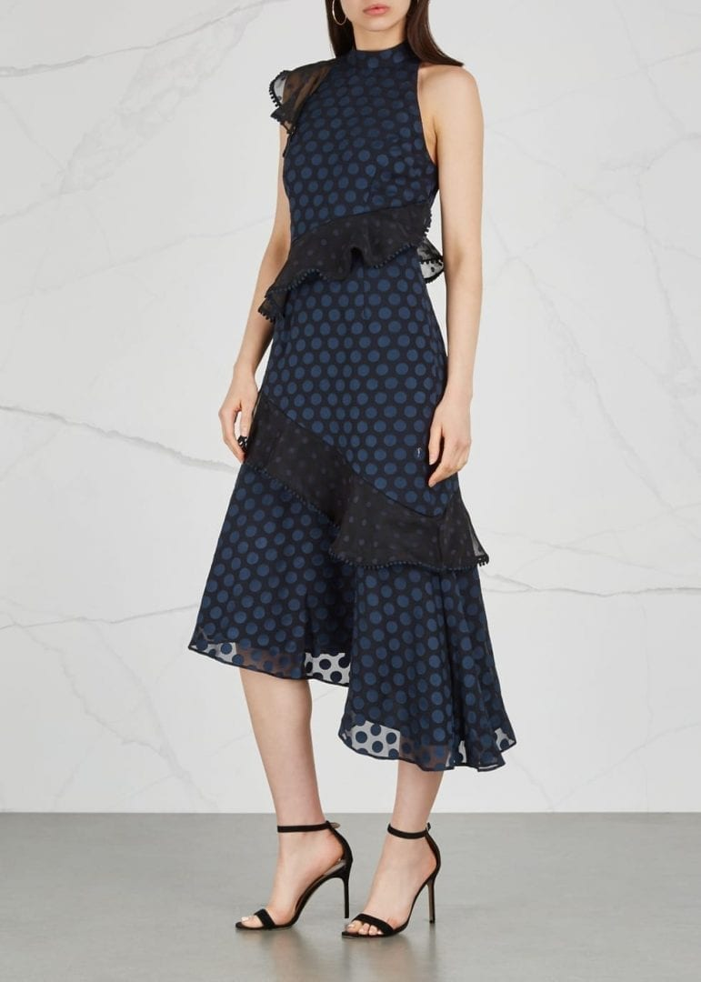 KEEPSAKE See You Now Polka Dot Midi Navy Dress