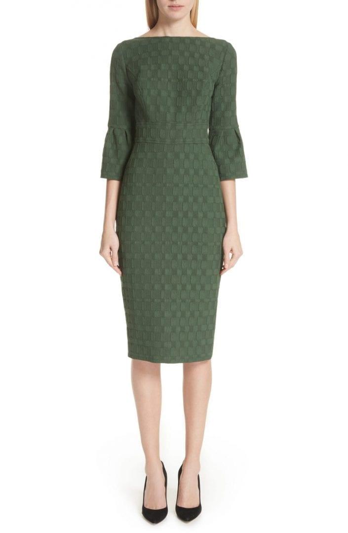 LELA ROSE Flutter Sleeve Stretch Jacquard Sheath Olive Dress