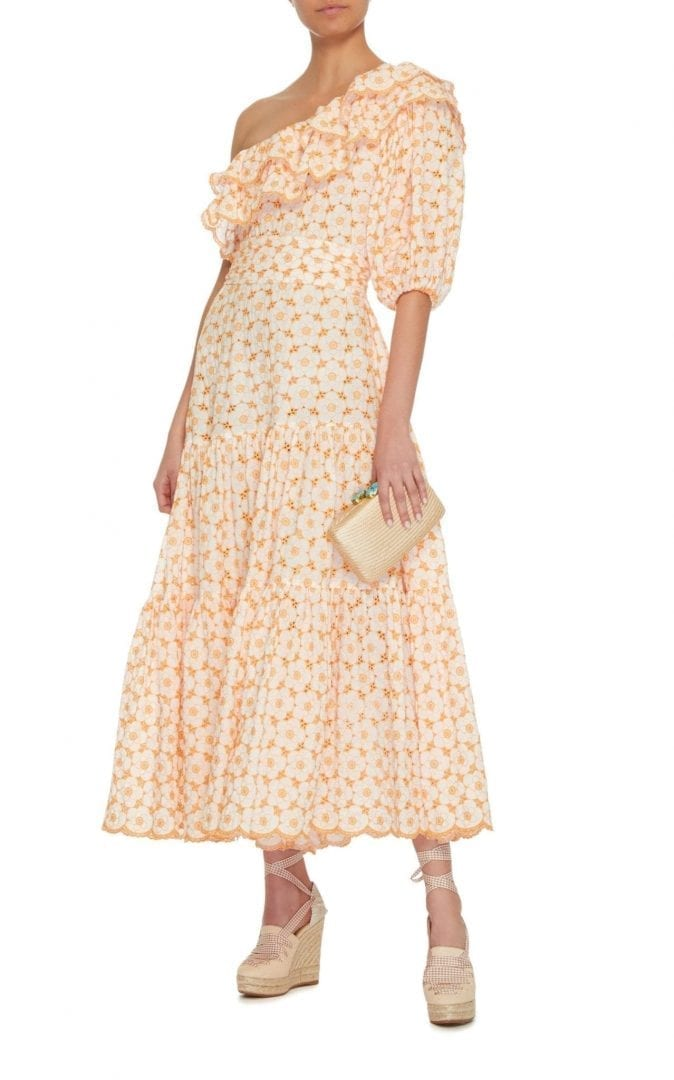 LISA MARIE FERNANDEZ Arden Belted Double Ruffle Cotton Eyelet Orange Dress