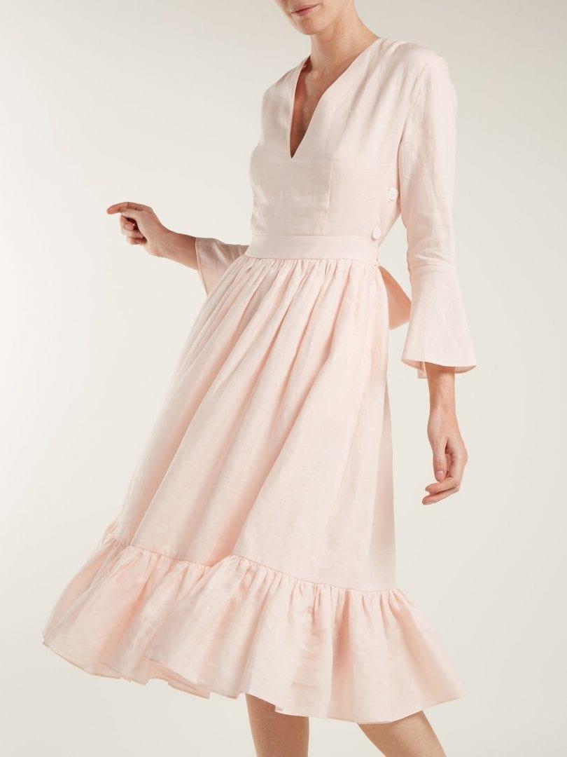 LOUP CHARMANT Sea Island Tie-waist Linen Light Pink Dress