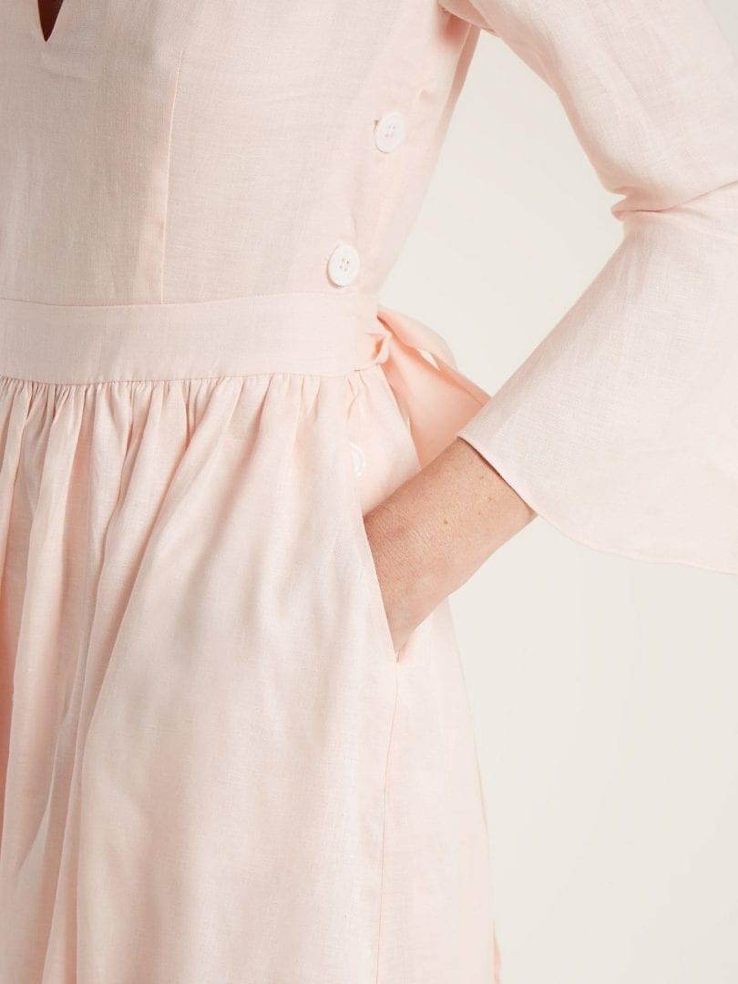 dab8fa0c4c LOUP CHARMANT Sea Island Tie-waist Linen Light Pink Dress - We ...