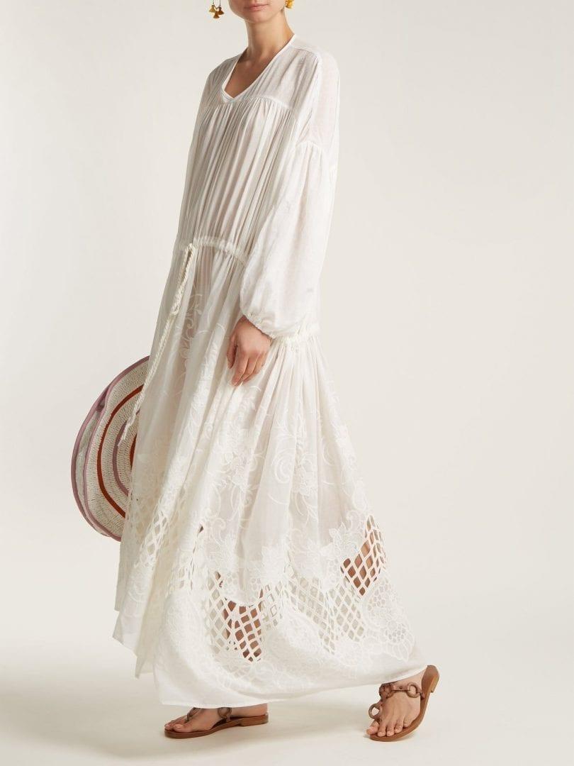 LOVE BINETTI Guipure Lace Cotton Ivory Dress