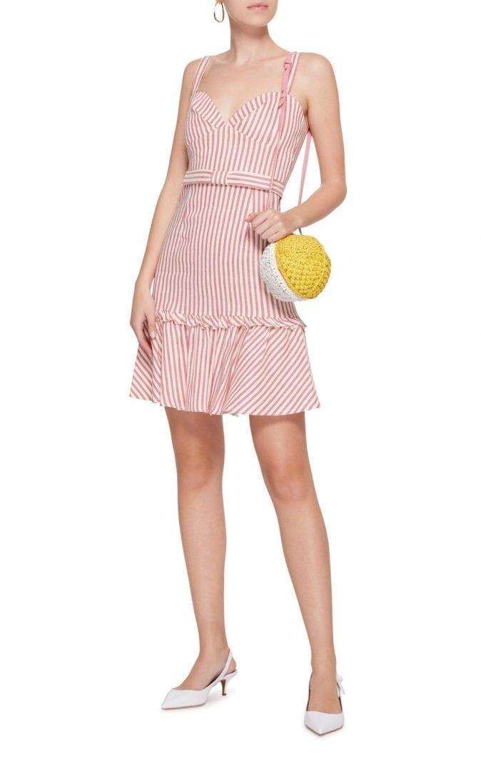 LUISA BECCARIA M'o Exclusive Linen Stripes Mini Pink / White Stripe Dress