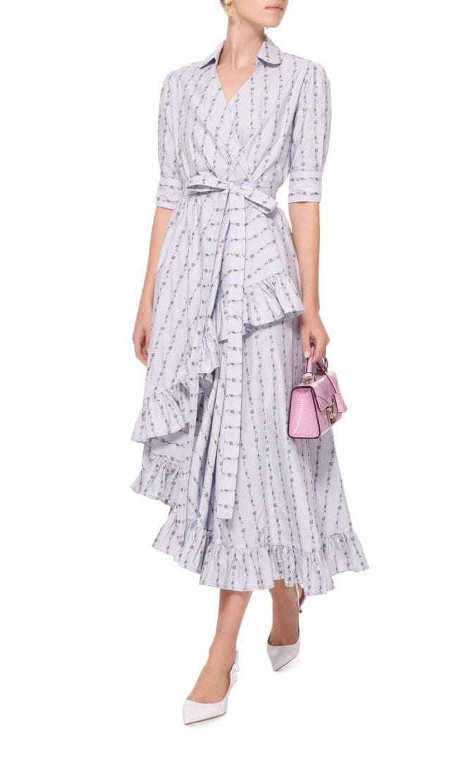 LUISA BECCARIA M'o Exclusive Ruffled Cotton Wrap Blue Dress