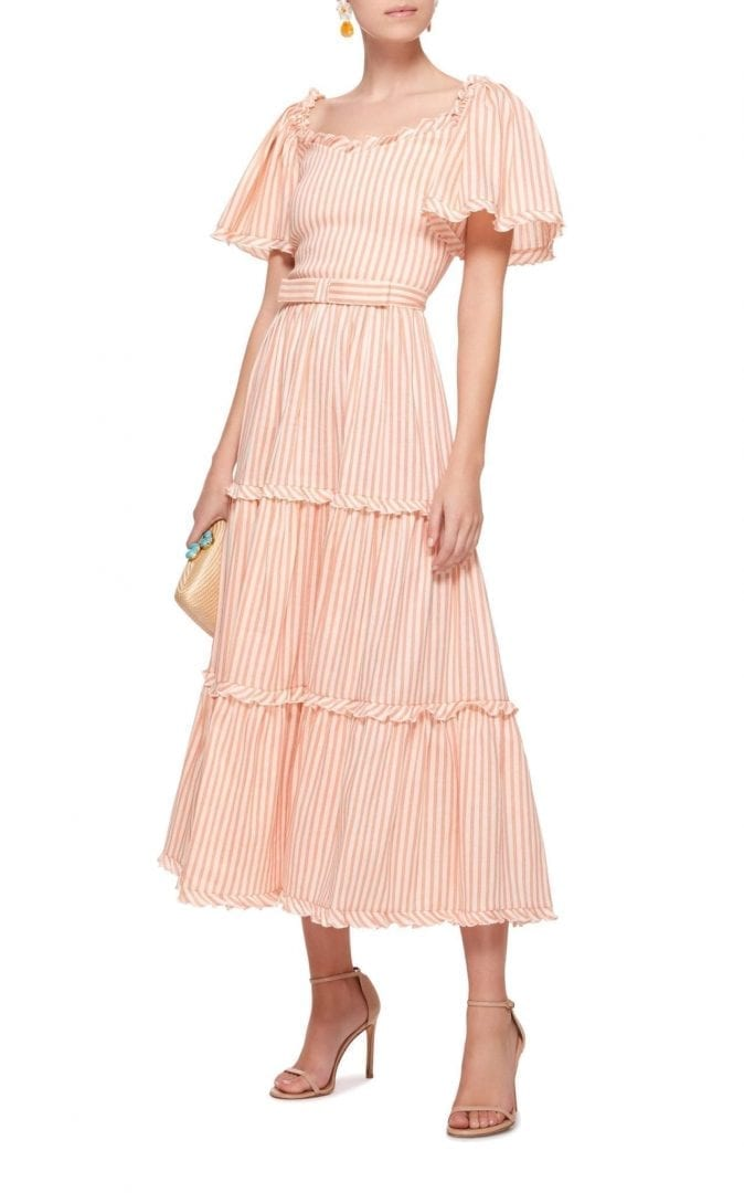 LUISA BECCARIA Striped Short Sleeve Midi Orange / White Dress