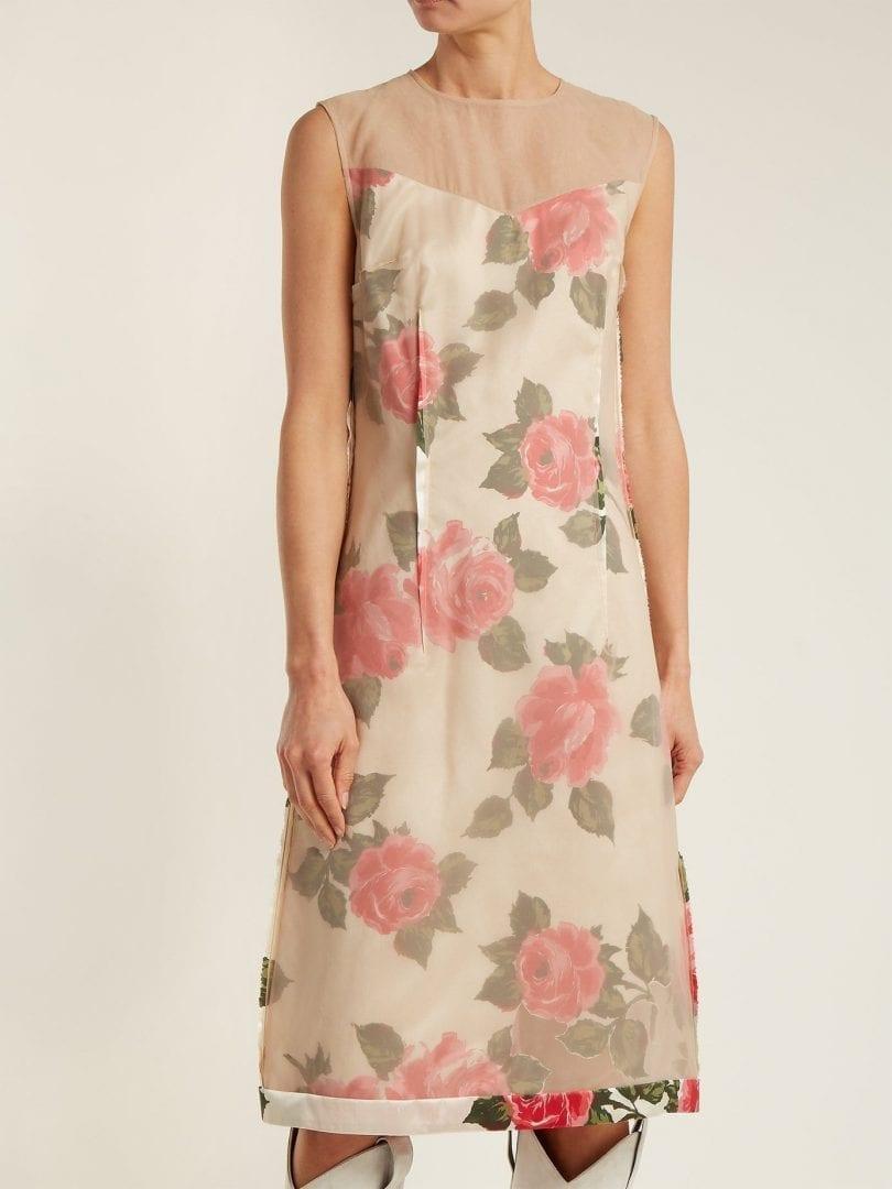 MAISON MARGIELA Raw Edge Rose Print Organza Beige Dress