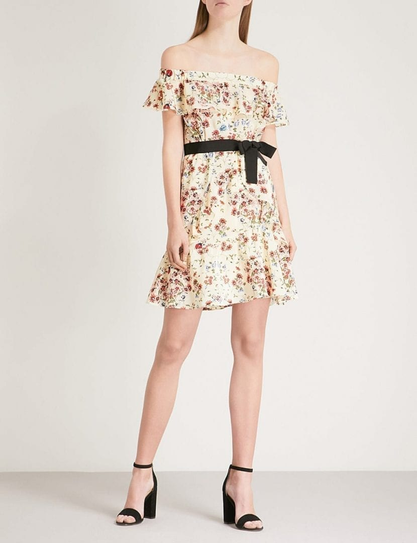 MAJE Rinora Off The Shoulder Silk Mini Multi Floral Printed Dress
