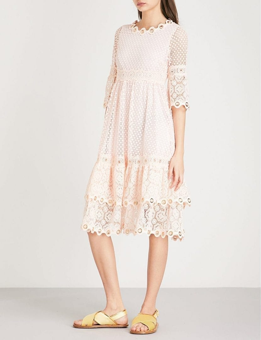 MAJE Roso Guipure Lace Rose Dress