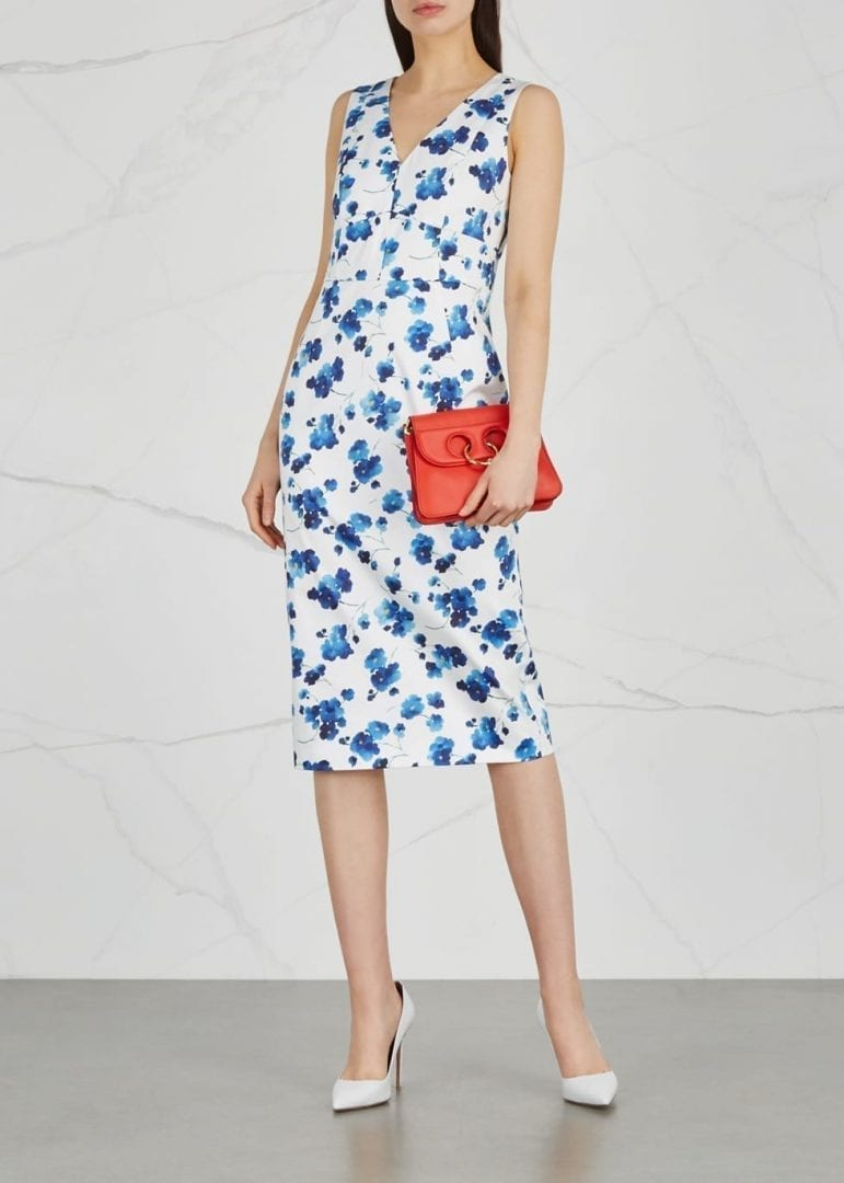 MAX MARA STUDIO Merlot Stretch Cotton White / Floral Printed Dress