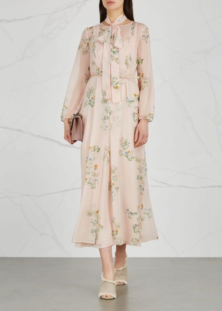 MAX MARA STUDIO Paulde Silk Midi Blush / Floral Printed Dress