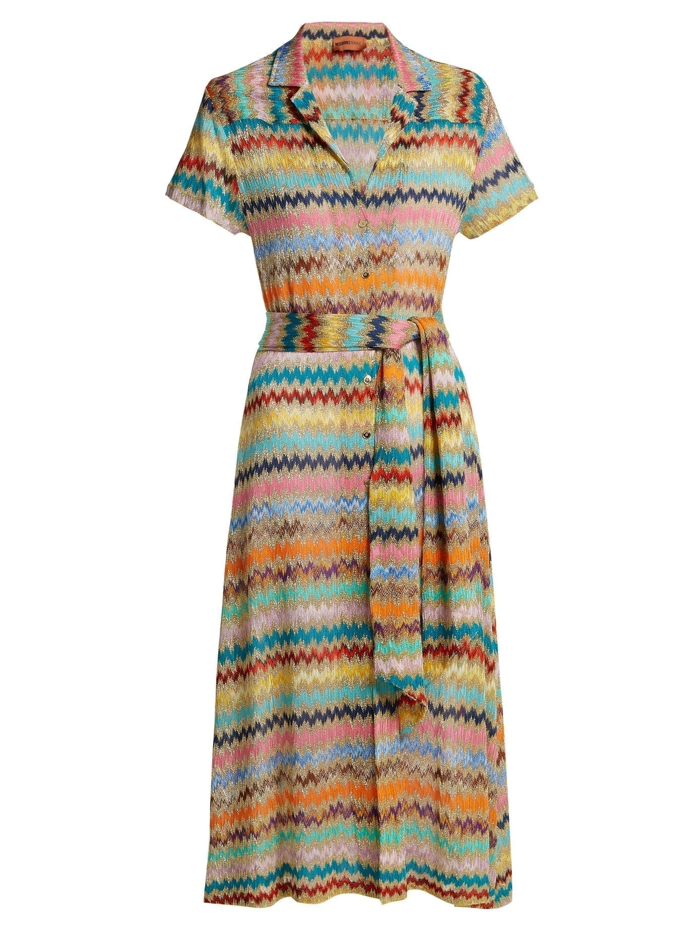 Missoni Mare Zigzag Knitted Gold Shirtdress We Select Dresses