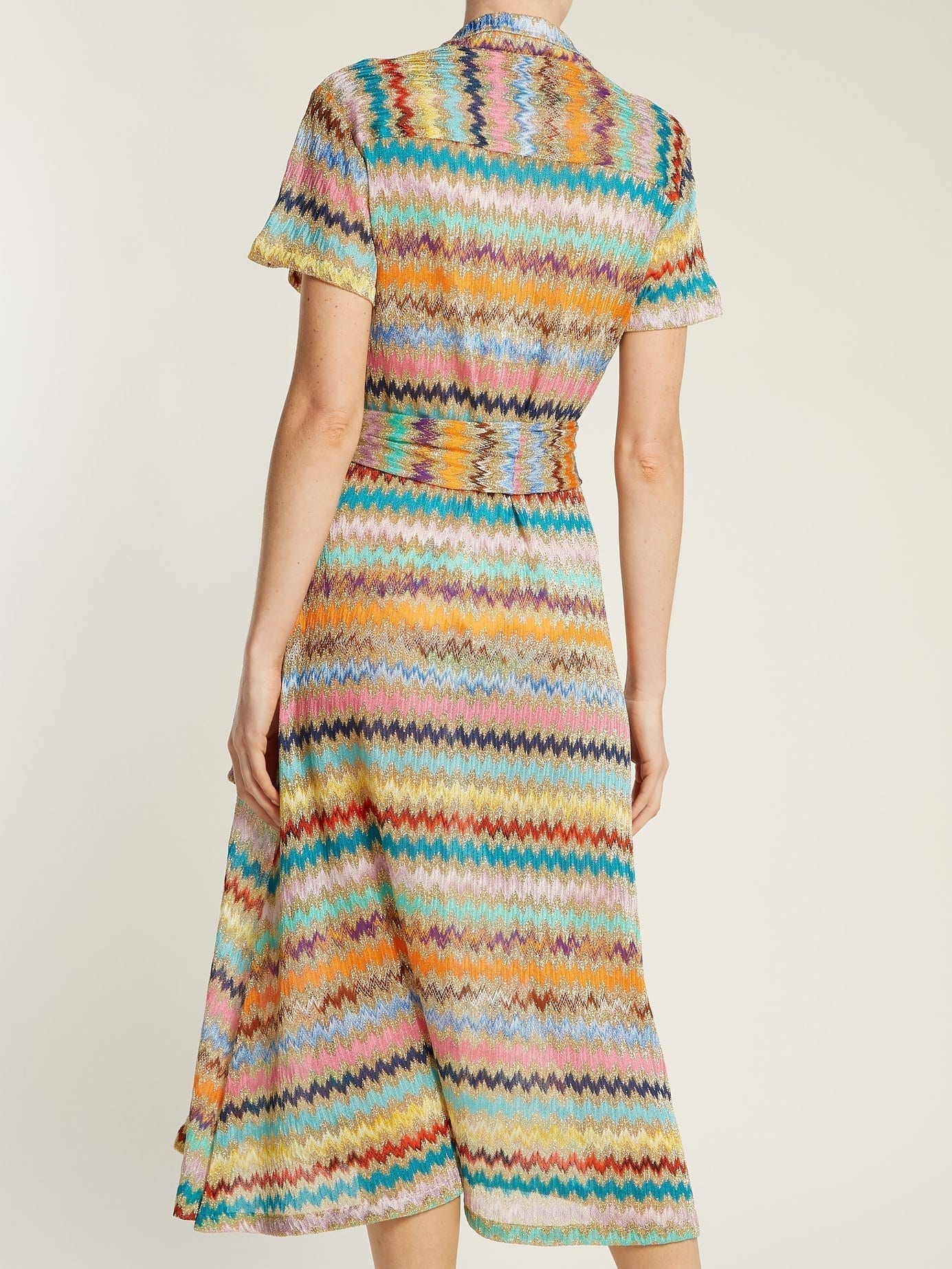 MISSONI MARE Zigzag Knitted Gold Shirtdress - We Select Dresses