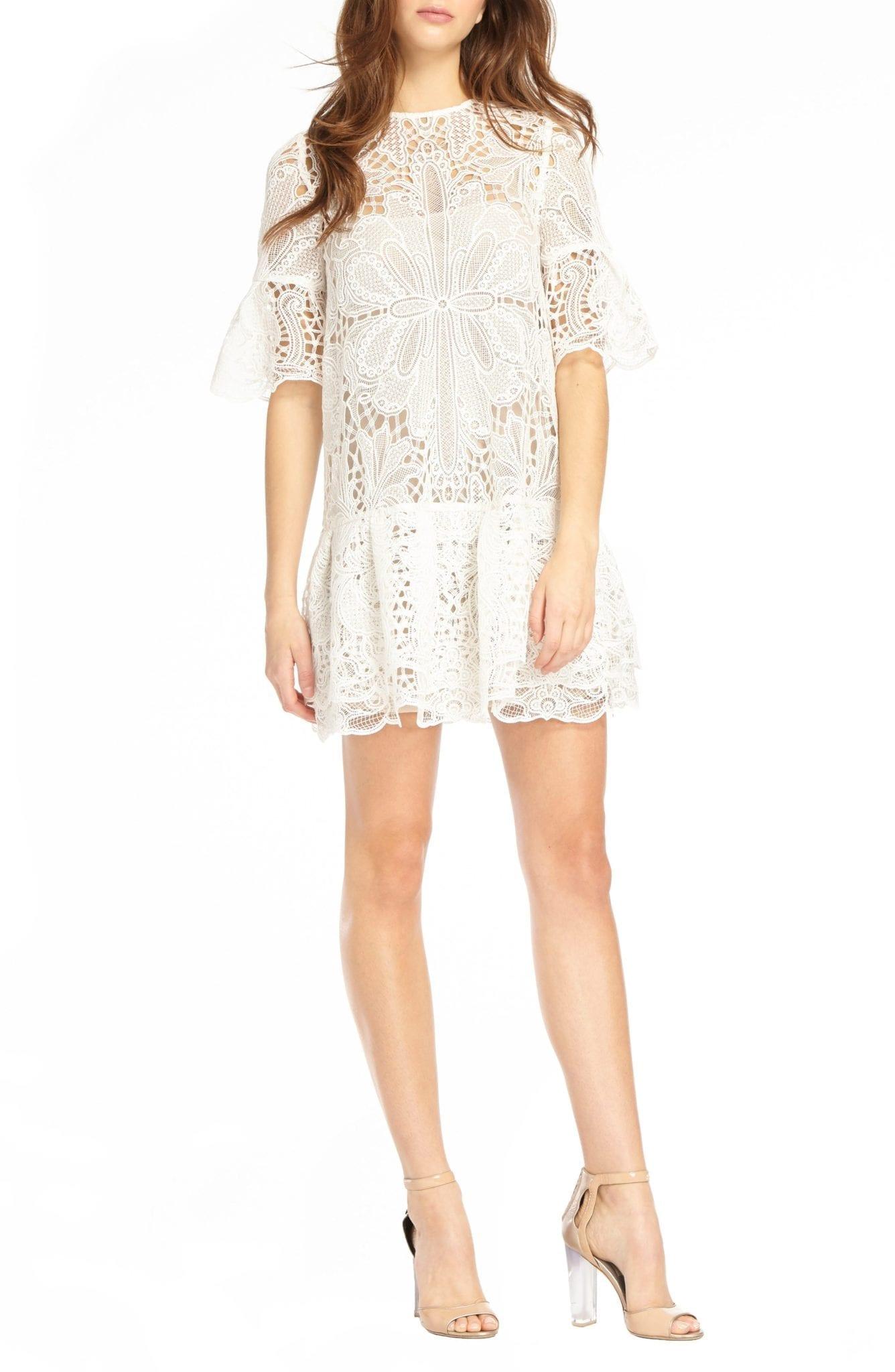 ML MONIQUE LHUILLIER Lace & Ruffle Shift White Dress