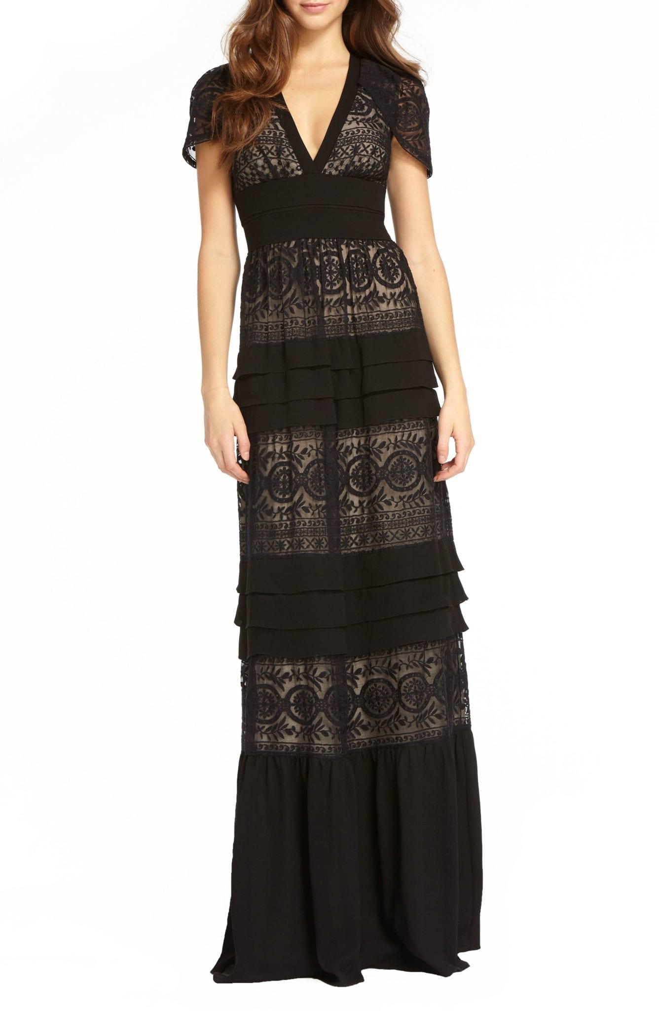 ML MONIQUE LHUILLIER Tiered Lace Black / Nude Gown - We Select Dresses
