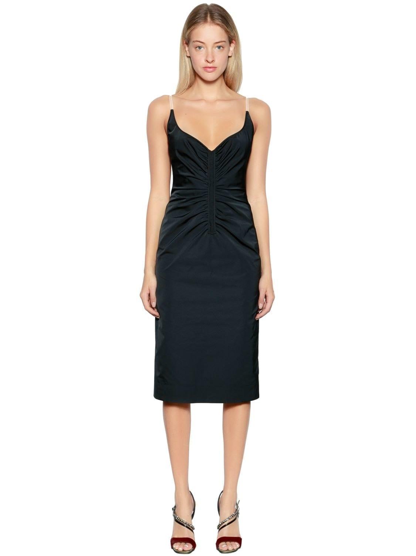 N°21Ruched Duchesse Satin Black Dress