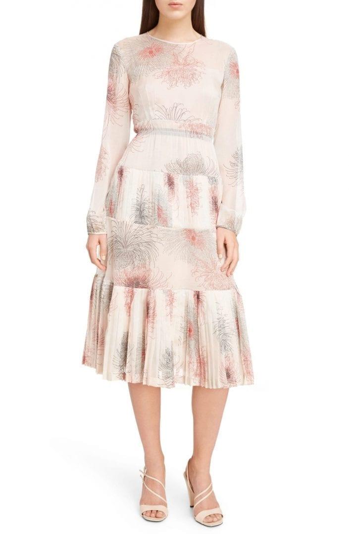 Nº21 Tiered Silk Pink / Floral Printed Dress