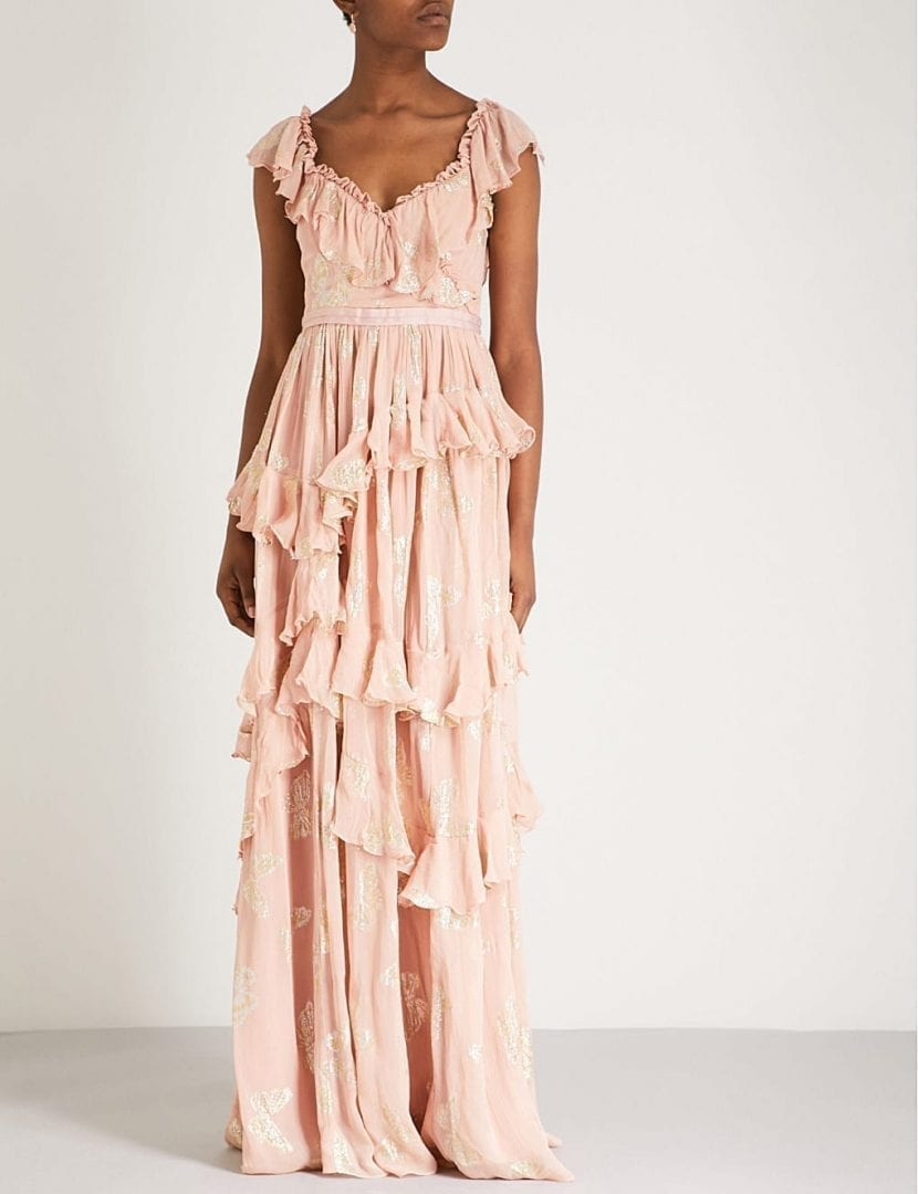 NEEDLE AND THREAD Butterfly Embroidered Chiffon Vintage Rose Gown