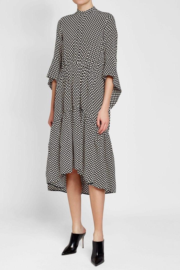 PETAR PETROV Drew Mini Dots Silk Black Dress