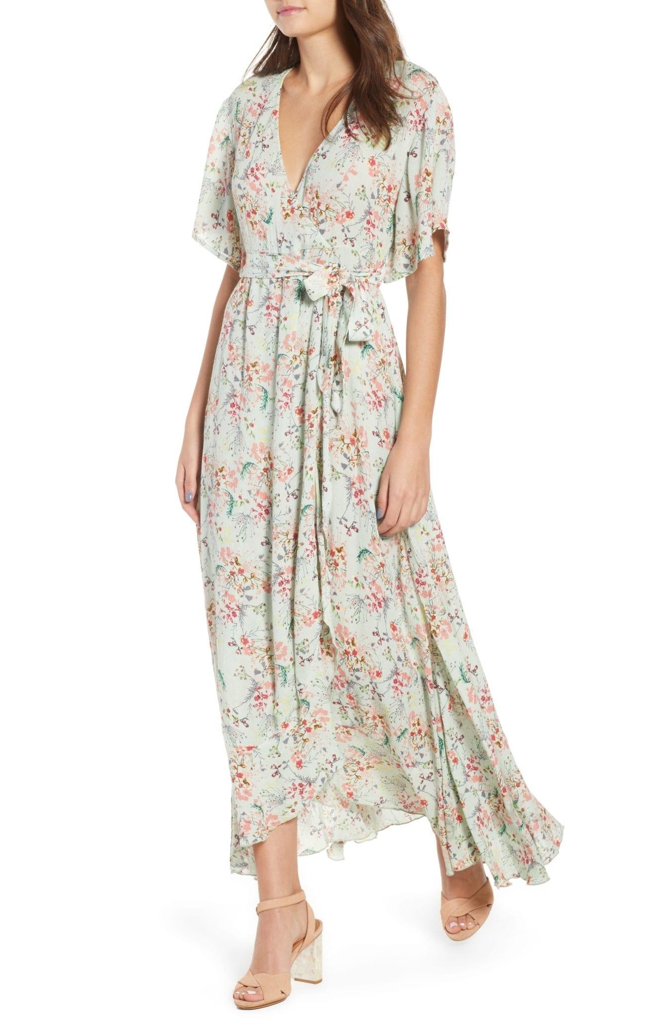RAGA Secret Escape Floral Faux Wrap Maxi Sage Dress