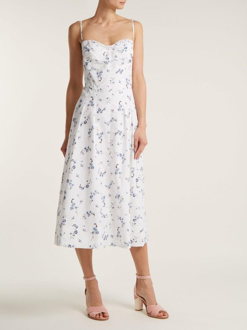 REBECCA TAYLOR Francine Cotton White / Floral Printed Dress