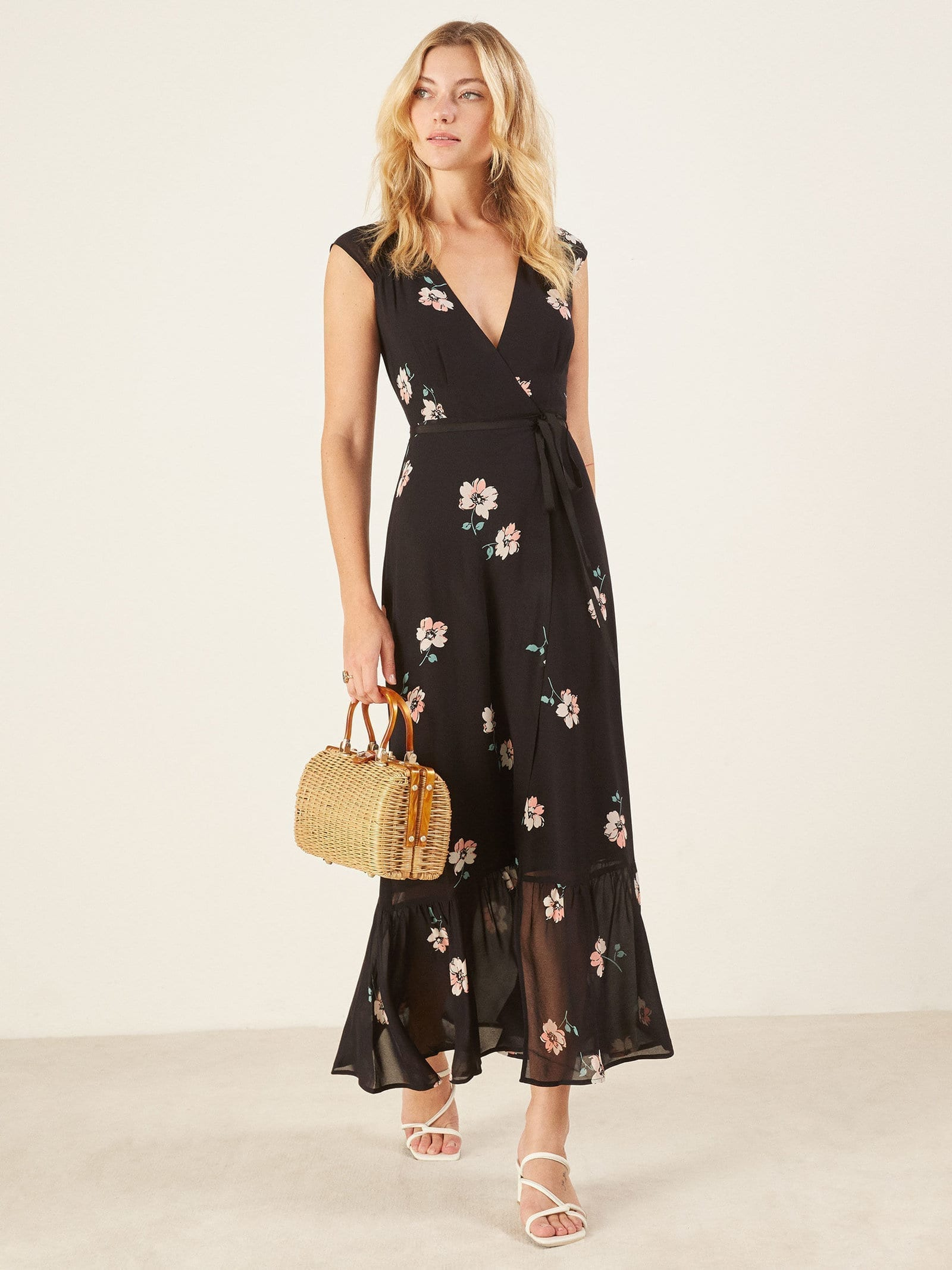 Reformation Haven Black Floral Printed Dress We Select