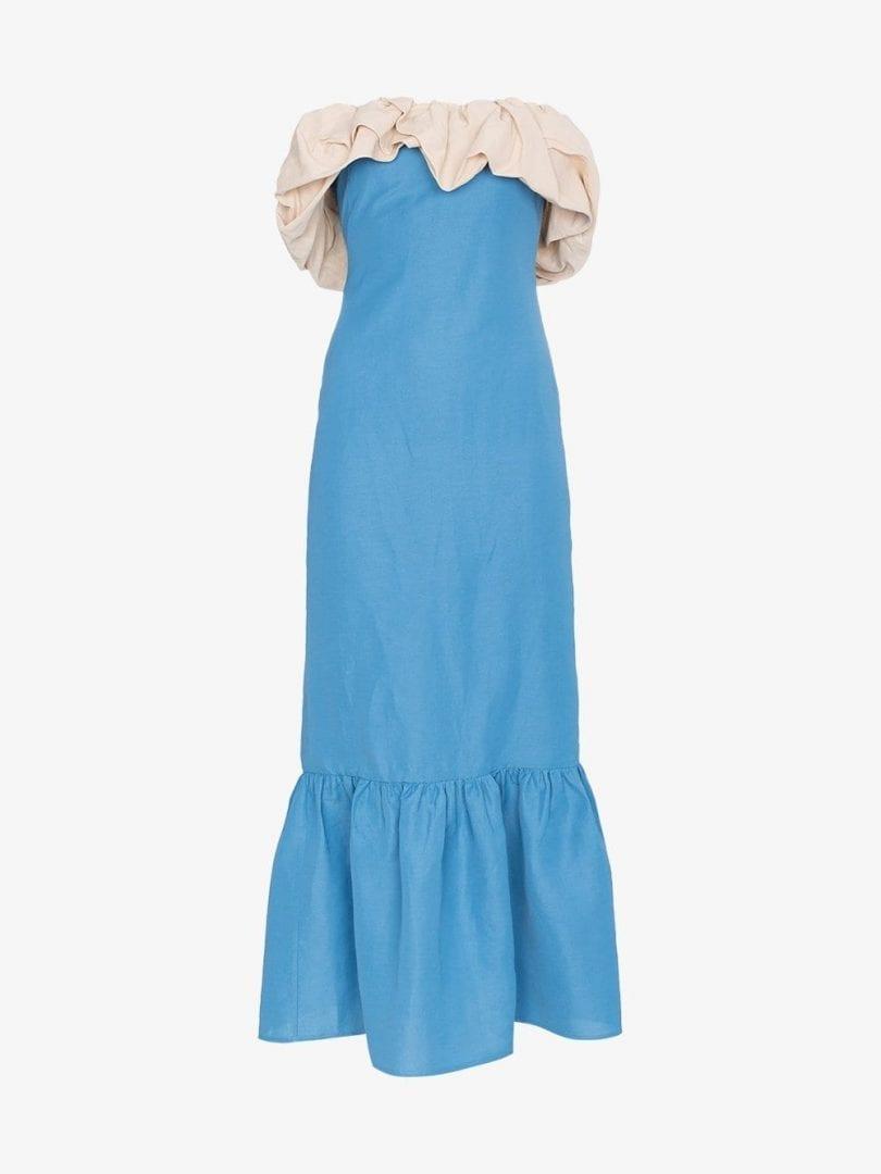 REJINA PYO Allegra Linen Ruffle Blue Dress