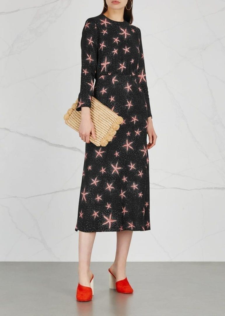 RIXO LONDON Alice Starfish Print Silk Midi Black Dress