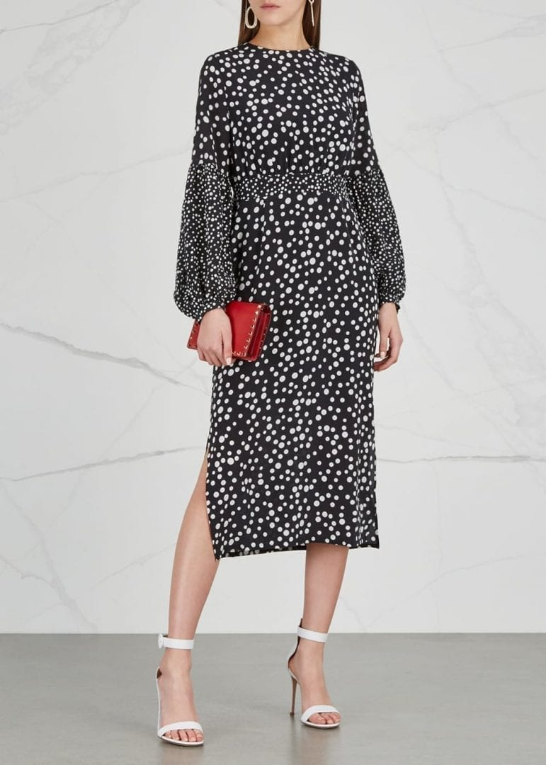 RIXO LONDON Anna Polka Dot Silk Black Dress