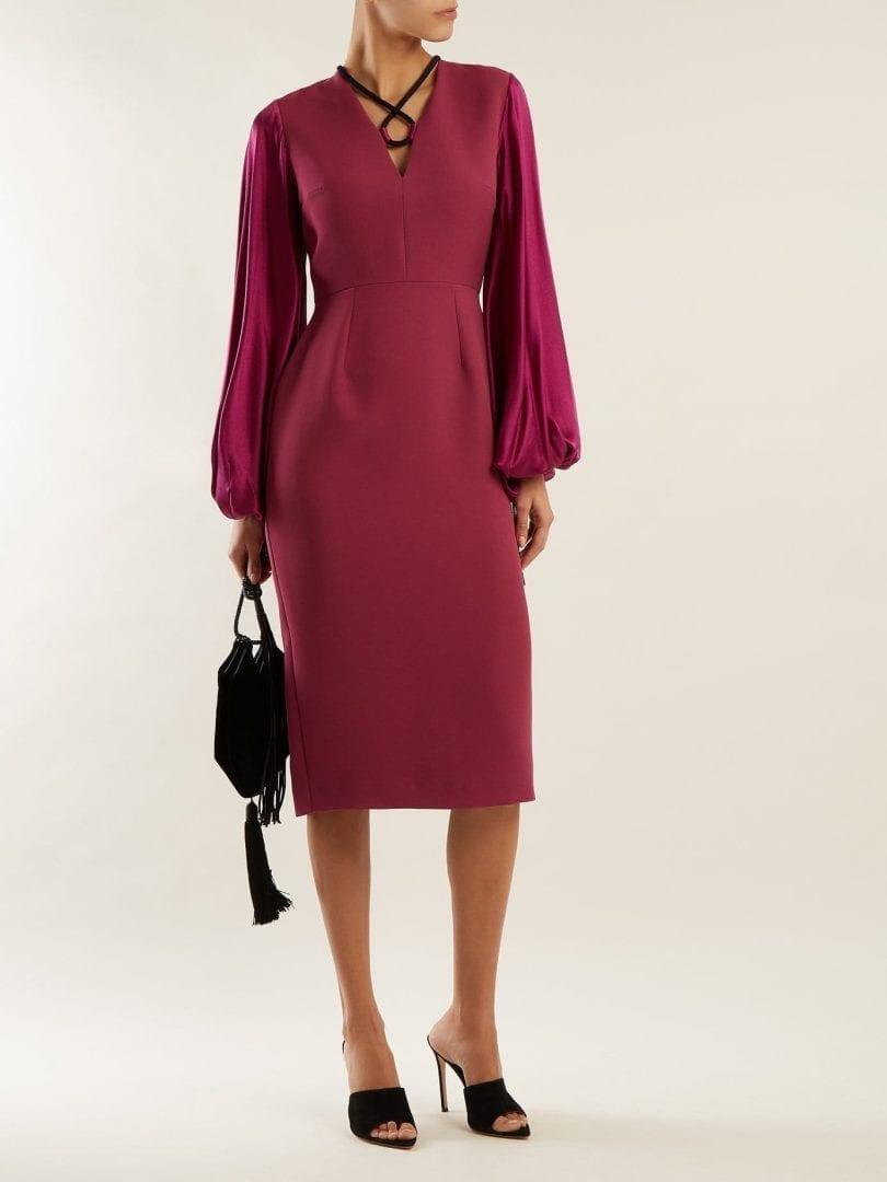 ROKSANDA Darya Blouson Sleeve Crepe Boysenberry Purple Dress