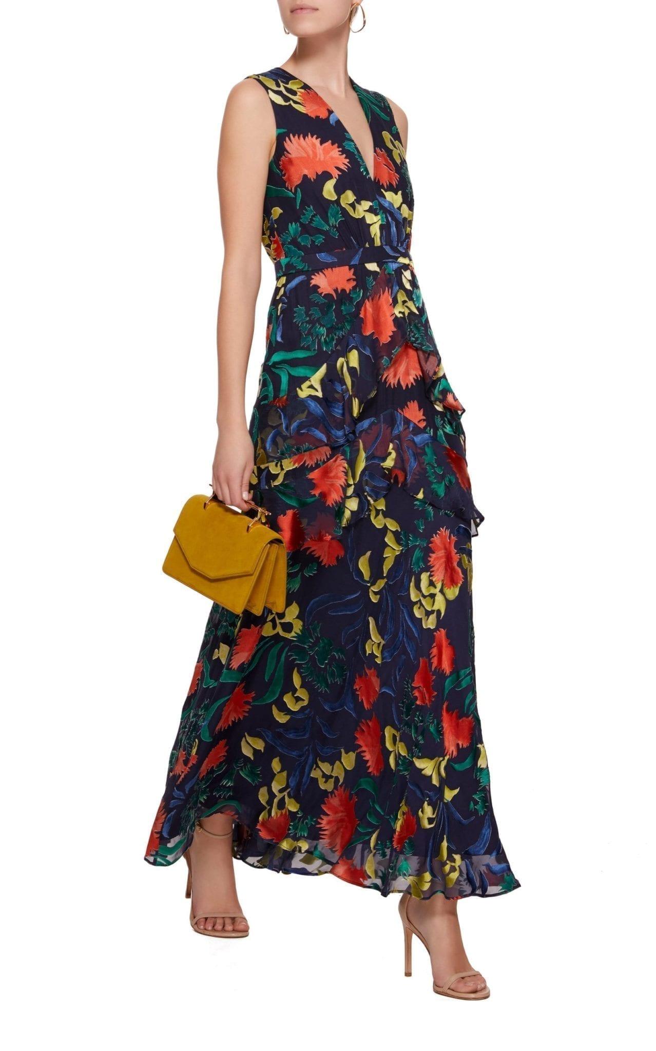 SALONI Lara Ruffled Chiffon Maxi Floral Printed Dress