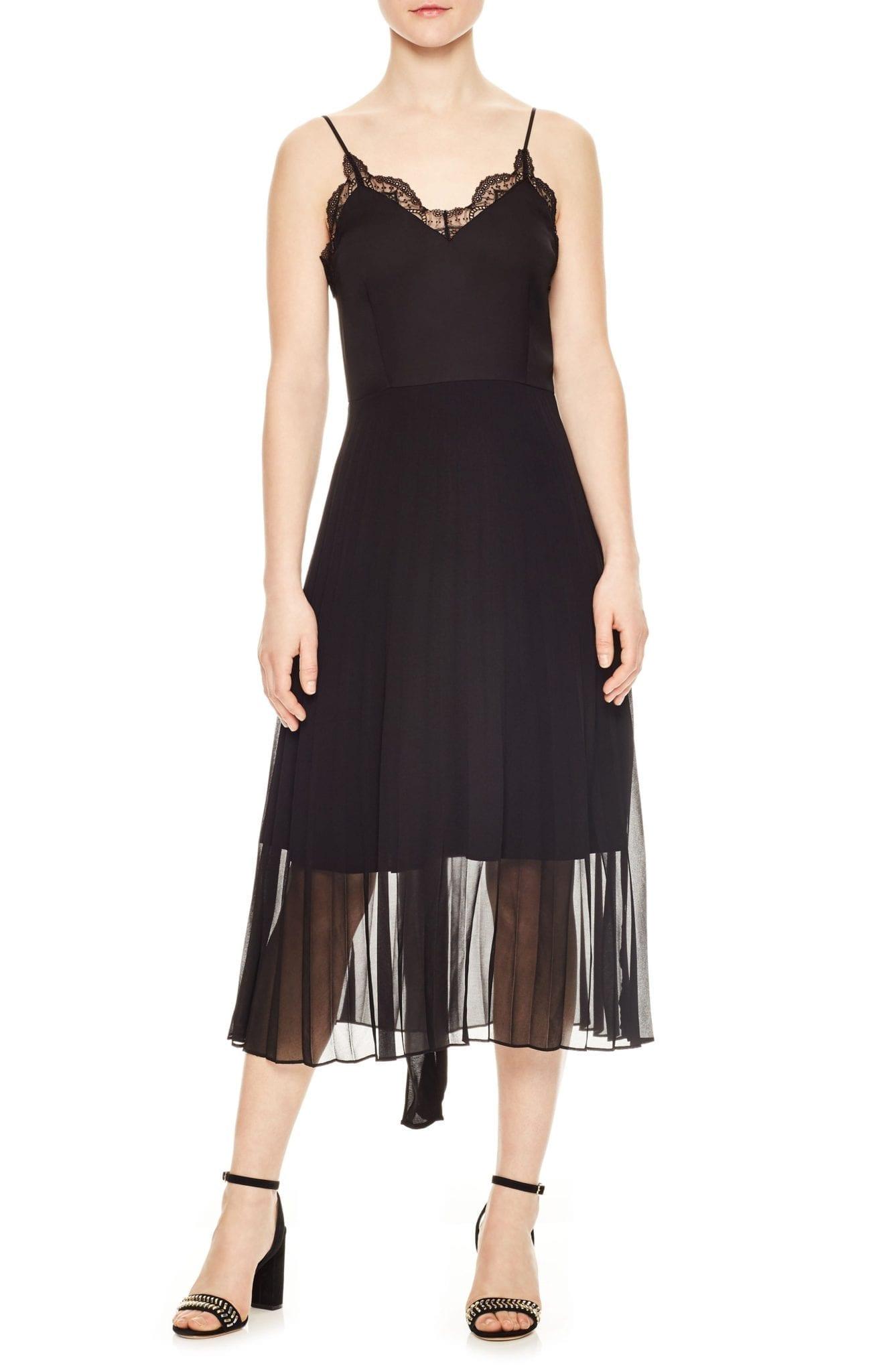 SANDRO Pleated Chiffon Overlay Noir Dress