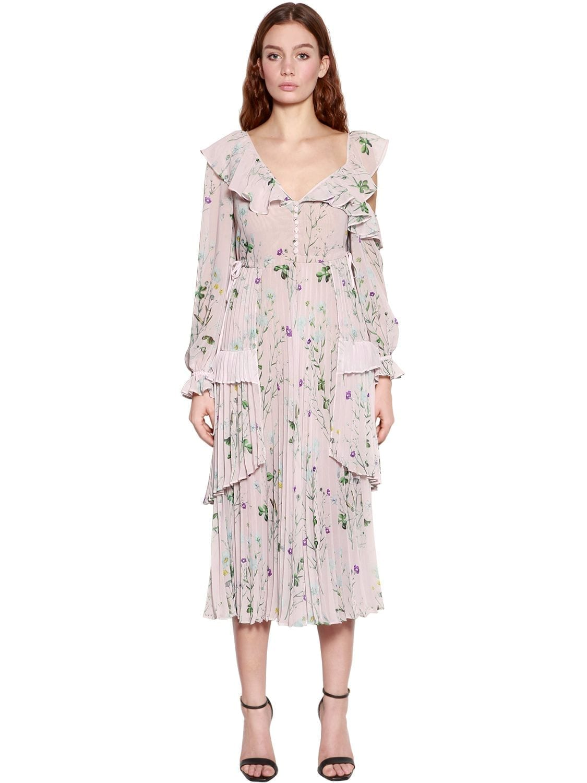 17af08d1fc86 SELF-PORTRAIT Asymmetrical Chiffon Midi Pink / Floral Printed Dress ...