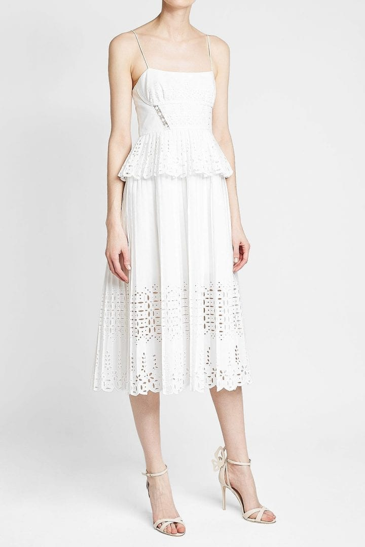 SELF-PORTRAIT Broderie Anglaise Midi White Dress