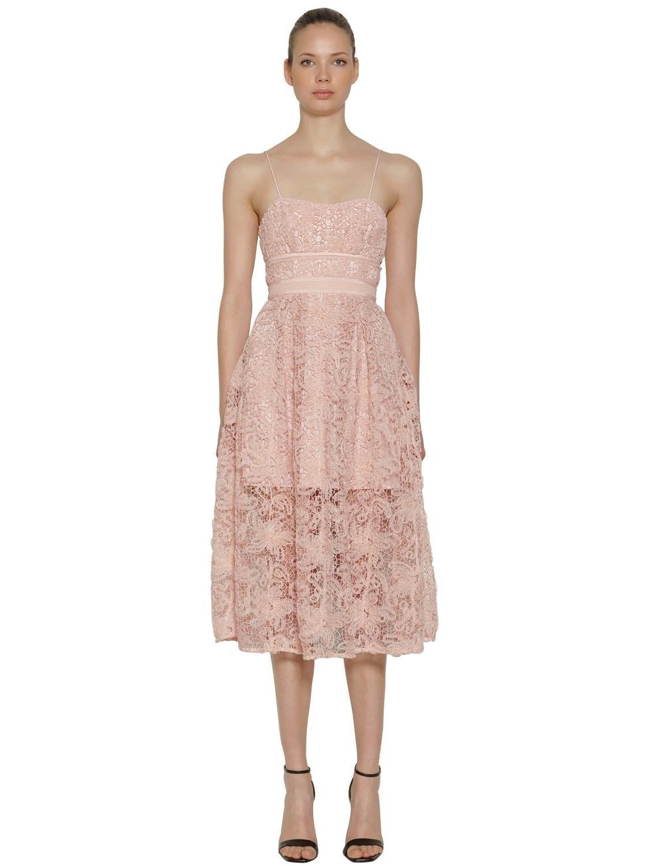 SELF-PORTRAIT Floral Lace Midi Pink Dress