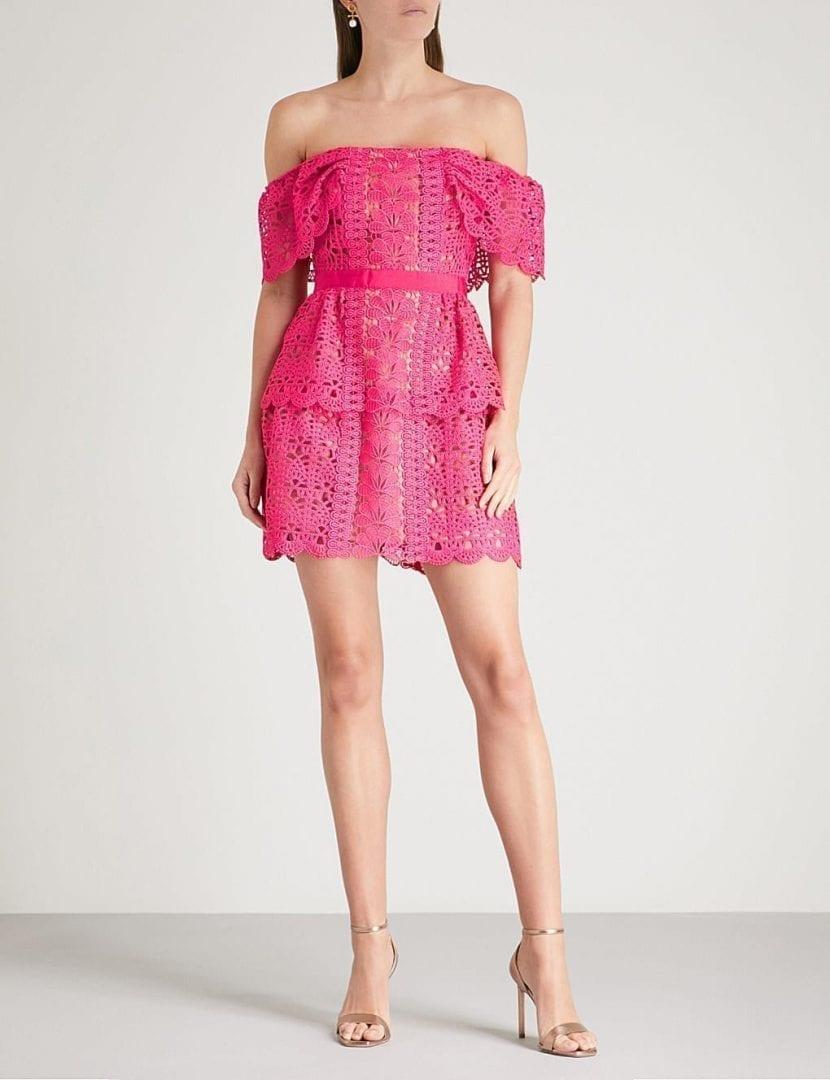 4257ccb2ad SELF-PORTRAIT Off The Shoulder Guipure Lace Fuchsia Dress - We ...