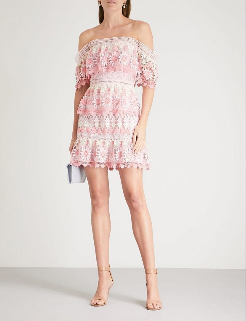 f8492539ee1f SELF-PORTRAIT Off The Shoulder Guipure Lace Mini Pink Dress - We ...