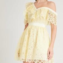 d0f1246f9cd5a SELF-PORTRAIT Off The Shoulder Guipure Lace Mini Yellow Dress - We ...