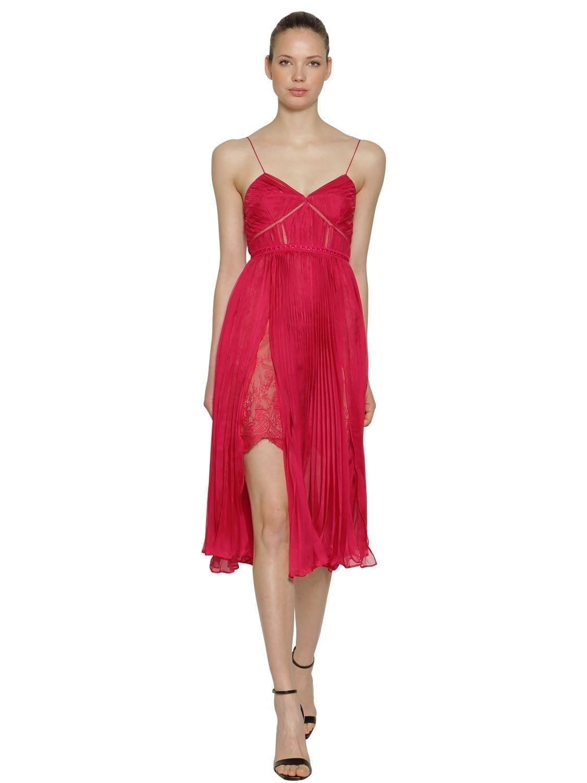 SELF-PORTRAIT Plisse Chiffon Midi Red Dress