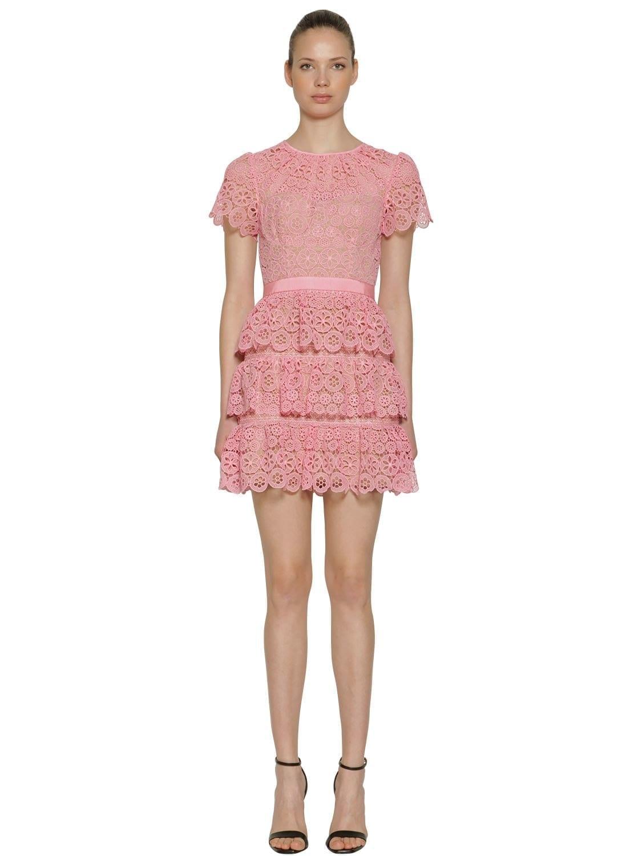 SELF-PORTRAIT Short Sleeve Lace Tiered Mini Pink Dress