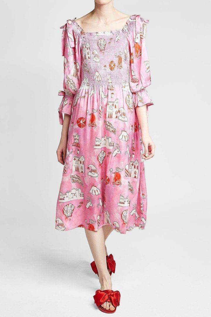 SHRIMPS Matteo Silk Magenta / Printed Dress
