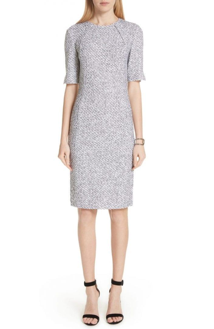 ST. JOHN COLLECTION Olivia Bouclé Knit White / Caviar Dress